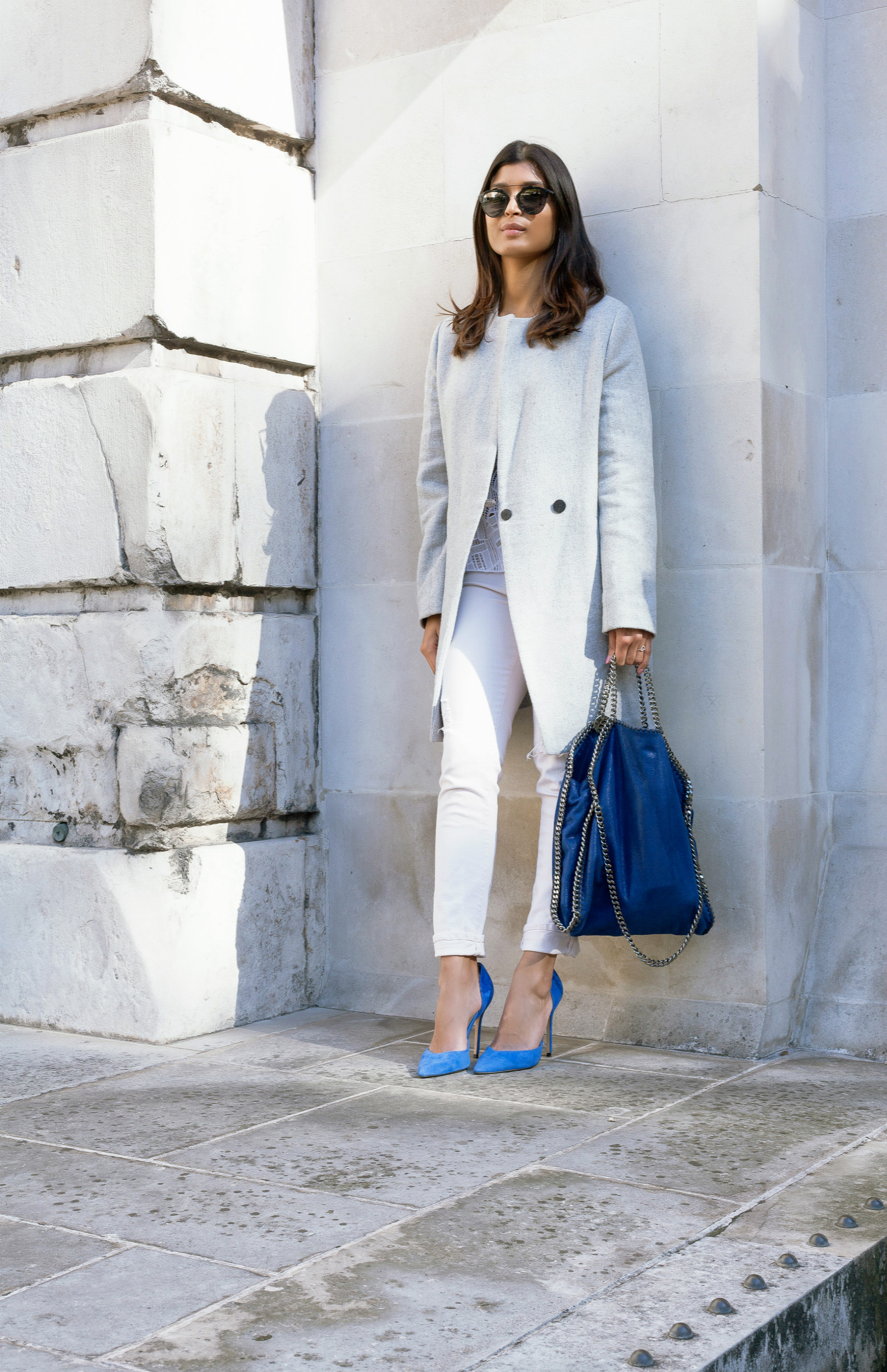 GREY, BLUE AND WHITE