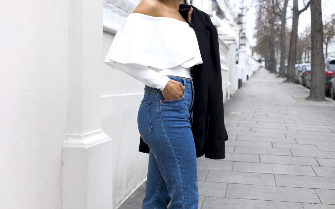 Off shoulder top and High waisted Jeans