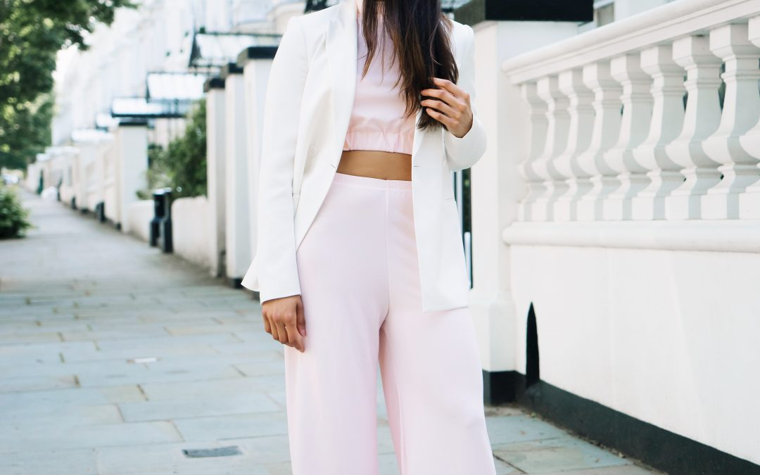 Pink Co-ord + White Blazer
