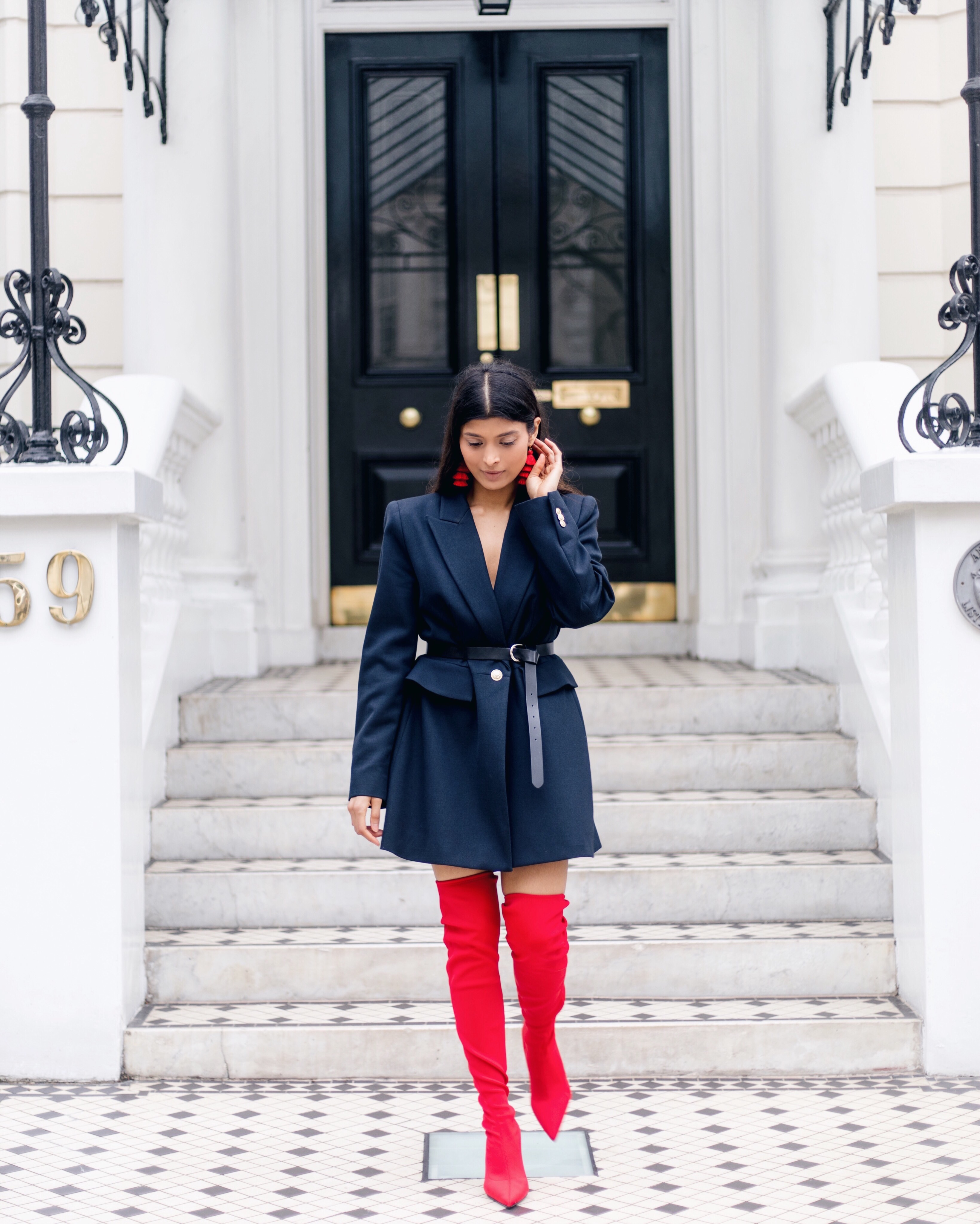Red Over The Knee Boots + Blazer